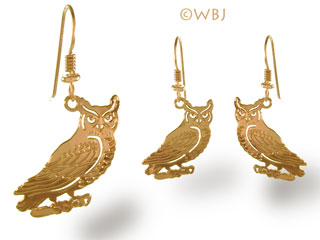 Owl Earrings Jewelry Gold French Curve