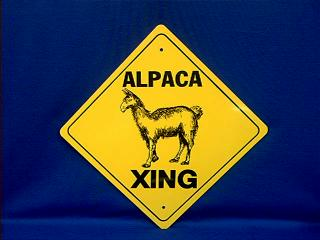 alpaca crossing sign