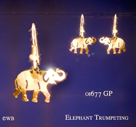 Elephant earrings jewelry gold french curve at animal world freerunsca Images