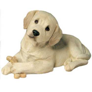 Yellow Lab Sandicast Figurine Life Size Puppy With Biscuit From