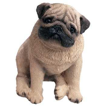 pug figurine sitting mid size