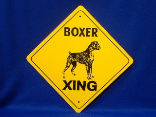 Boxer Uncropped Ear Crossing Sign