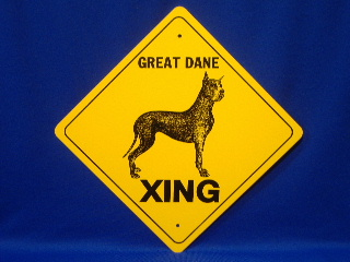 Great Dane Cropped Ear Crossing Sign