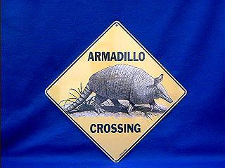armadillo crossing sign color
