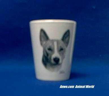 basenji shot glass porcelain