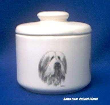 bearded collie jar porcelain