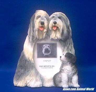 bearded collie picture frame figurine vertical