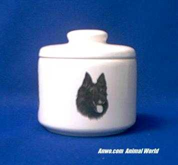 belgian shepherd jar porcelain