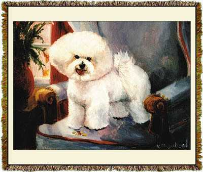 bichon frise blanket throw tapestry afghan