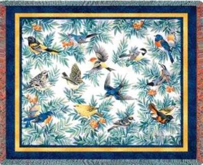 bird blanket throw tapestry songbirds