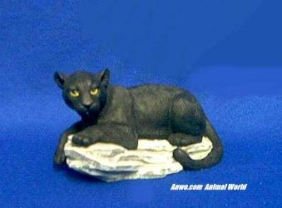 black panther on rock figurine statue