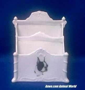boston terrier letter holder porcelain