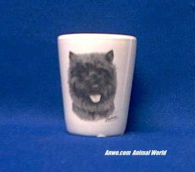 cairn terrier shot glass porcelain