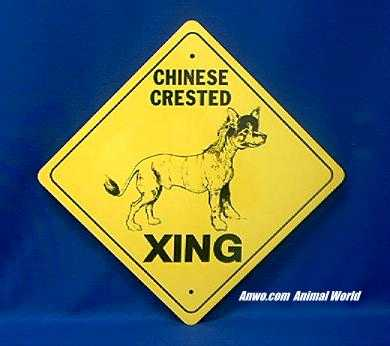 chinese crested crossing sign