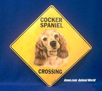 cocker spaniel crossing sign color