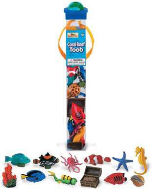 coral reef toy tube fish assortment