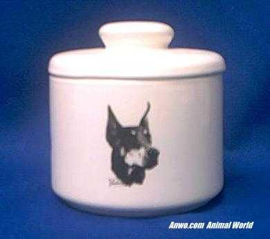 doberman pinscher jar porcelain