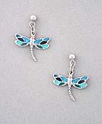 aqua blue dragonfly earrings