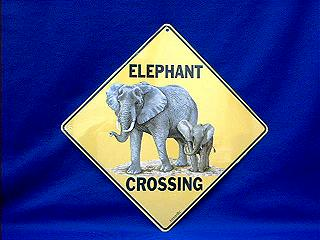 elephant crossing sign color