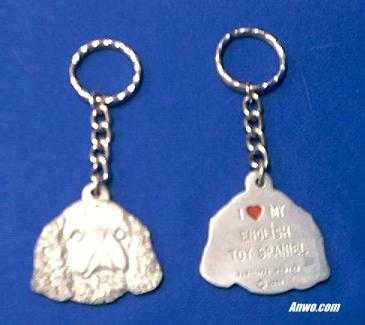 english toy spaniel keychain pewter usa