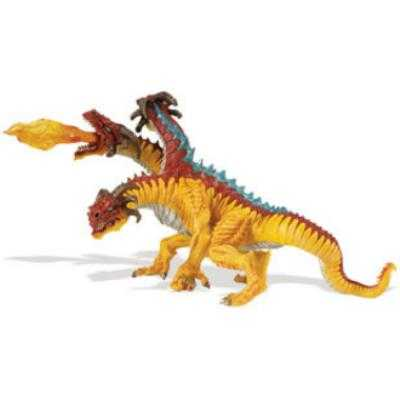 fire dragon toy miniature three headed