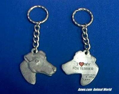 fox terrier keychain pewter usa