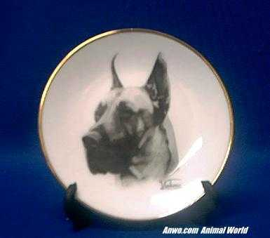 great dane plate porcelain