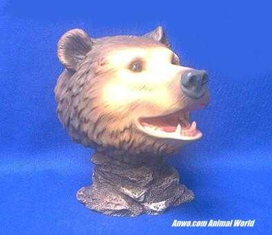 grizzly bear head figurine