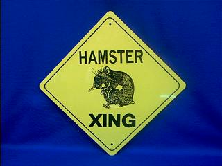 hamster crossing sign
