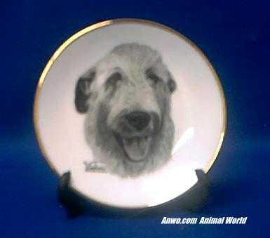 irish wolfhound plate porcelain