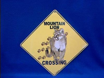 mountain lion crossing sign