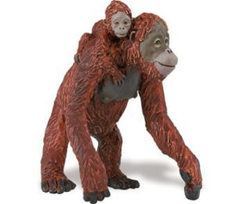 orangutan toy mom with baby miniature replica