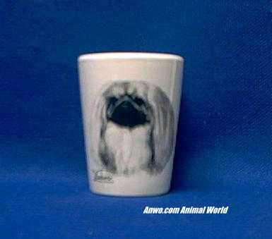 pekingese shot glass
