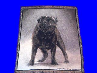 black pug throw blanket