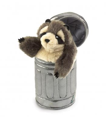 raccoon puppet trashcan folkmanis