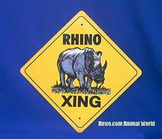 rhino crossing sign