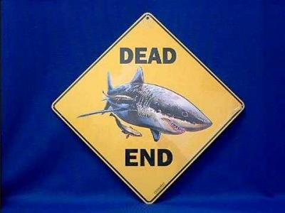 shark sign dead end warning