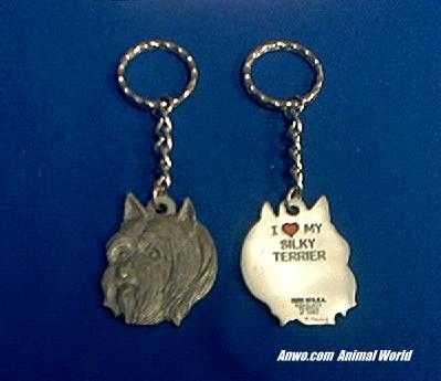 silky terrier keychain pewter