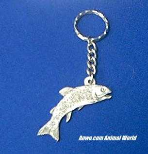 trout fish keychain pewter