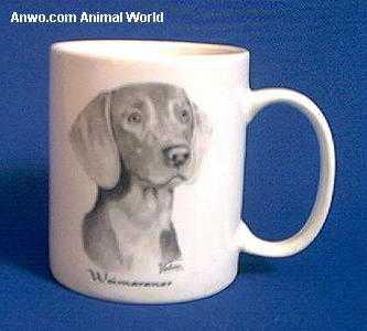 weimaraner mug porcelain face