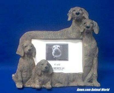 weimaraner picture frame figurine