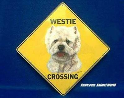 westie crossing sign west highland white terrier