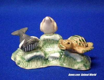 whale dolphin turtle figurine see hear speak no