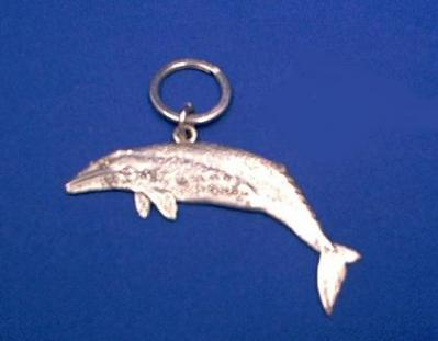 whale keychain pewter grey whale