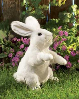 white rabbit puppet standing folkmanis