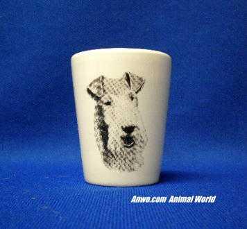 wire hair fox terrier shot glass