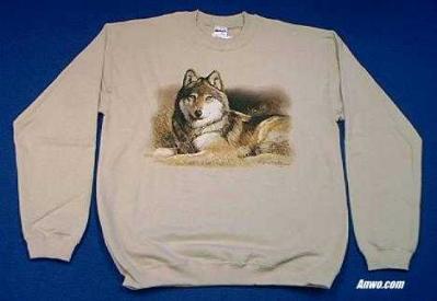 wolf sweatshirt printed in usa