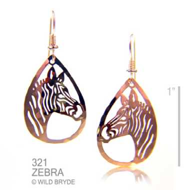 zebra earrings gold french curve
