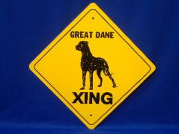 Great Dane Uncropped Ear Crossing Sign