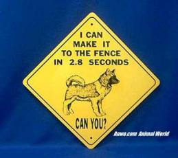 akita sign warning fence 2.8 seconds